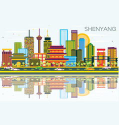 shenyang skyline with color buildings blue sky vector image