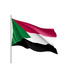 sudan realistic flag vector image