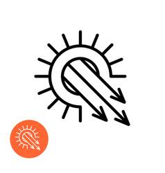 sun rays blast icon solar pressure symbol vector image