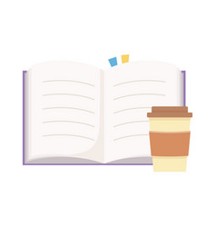 Takeaway paper coffee cup and open book isolated vector