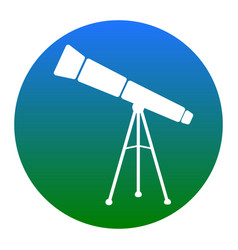 telescope simple sign white icon in vector image