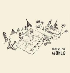 Traveling around world hand drawn sketch vector