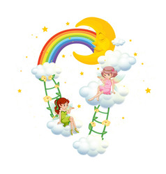 Two fairies on clouds on white background vector