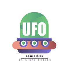 Ufo logo design label with flying saucer vector