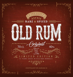 vintage old rum label for bottle vector image
