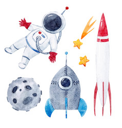 Watercolor baby space set vector