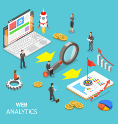 Web analytics flat isometric concept vector