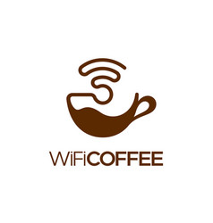 wifi coffee logo design isolated vector image