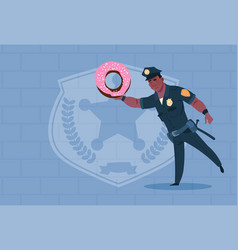 african american policeman hold donut wearing vector image