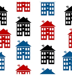 Apartment house icon seamless pattern vector image