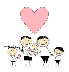 Happy parents with children newborn baby in hands vector image vector image