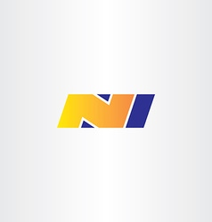 N letter yellow blue logo sign icon symbol vector