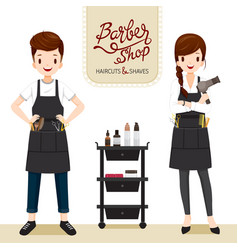Relaxing woman and man in barber shop vector