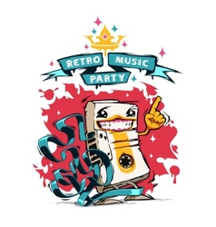 Retro music party poster with happy audio cassette vector