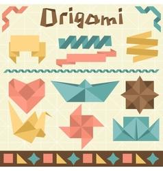 Retro origami set with design elements vector image
