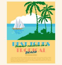 retro seaside view minimalistic advertising poster vector image