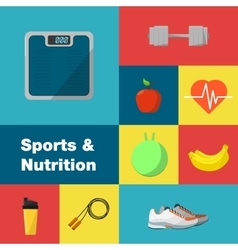 Sports and nutrition icons set vector
