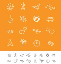 summer and travel iconset vector image vector image