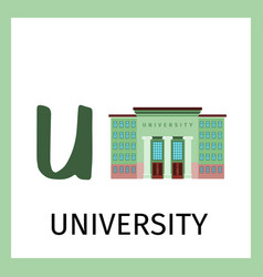 alphabet card with university building vector image vector image