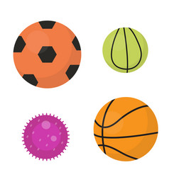 balls set icons flat cartoon style collection vector image