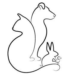 Cat dog rabbit and bird silhouettes logo vector image vector image