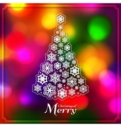 Christmas tree made from paper snowflakes on vector image