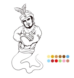 Coloring page with genie vector image vector image