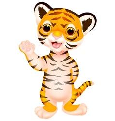 Cute baby tiger cartoon waving vector image