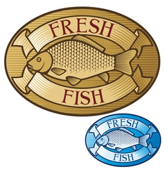 fresh fish label vector image vector image