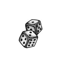 hand drawn dice vector image