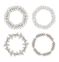 Hand drawn vintage floral wreathes vector image