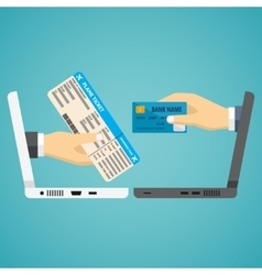 Hands with credit card and airplane ticket vector image