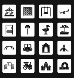 Playground icons set squares vector