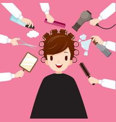 Relaxing woman in hair salon vector