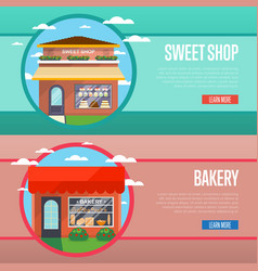 sweet and bakery shop banner set vector image vector image