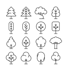 Tree thin line icons set vector