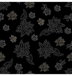 Vintage black and white floral seamless pattern vector image