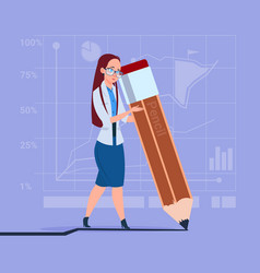 Business woman holding big pencil writing office vector