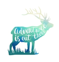 Deer silhouette with hand-drawn lettering vector image