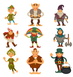 Gnomes dwarfs or elf and leprechaun cartoon magic vector