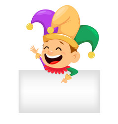 mardi gras jester showing on blank placard vector image vector image