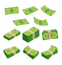monetary denomination different stacks of money vector image