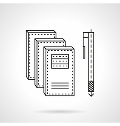 Notebooks and pen flat line icon vector image