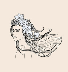 Fashion portrait beautiful girl with long flowing vector