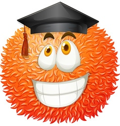 Fluffy ball with graduation cap vector image