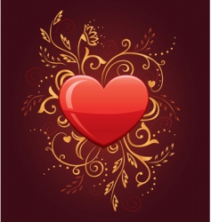 glamour heart with floral ornate vector image