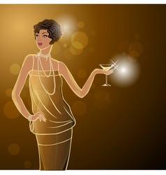 Retro party invitation design with girl vector image vector image