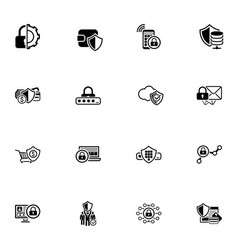 security and protection icons set vector image vector image