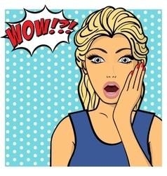 Young woman lady shows amazement shok Comic vector image