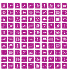 100 building materials icons set grunge pink vector